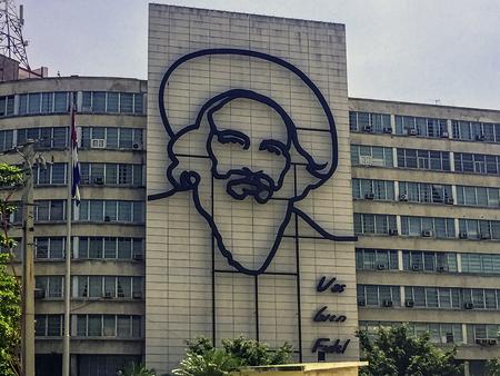 Ministry of Information Building with a steel memorial to Cuban Prime Minister Fidel Alejandro Castro Ruz - Revolution Square (La Plaza de la Revolución), Havana, Cuba Redakční