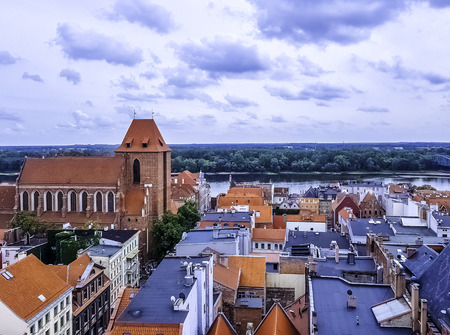 Aerial panorama of Old Town with Cathedral in Torun, Poland