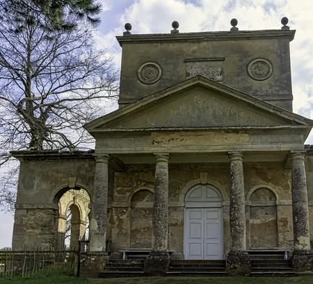 Ruined Temple of Friendship on Hawkwell Field in Stowe, Buckinghamshire, United Kingdom