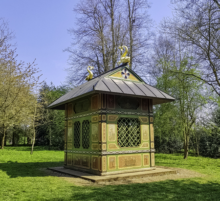 Chinese House on Lamport Fields and the Japanese Gardens in Stowe, Buckinghamshire, United Kingdom Stock Photo