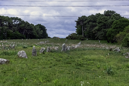 Alignements de Carnac - Carnac stones in Carnac, France 版權商用圖片 - 127605437