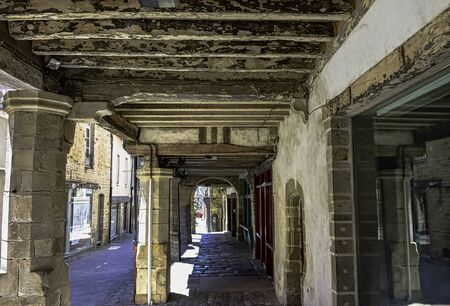 Street of Vitre Old Town with vintage architecture in Vitre (Vitré), Brittany, France Stock Photo