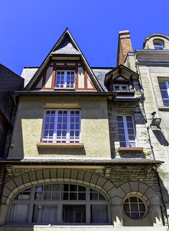 Vintage architecture of Old Town in Vitre (Vitré), Brittany, France Stock Photo