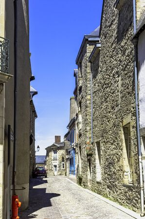Street of Vitre Old Town with vintage architecture in Vitre (Vitré), Brittany, France