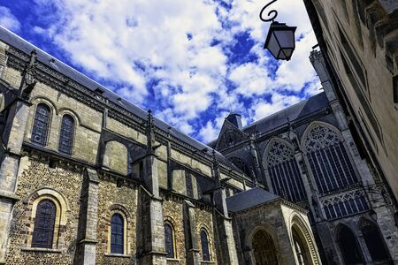Cathedral of Saint Julian (Cathedrale St-Julien du Mans) in Le Mans, Maine, France Stok Fotoğraf