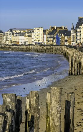 Channel coast and architecture of Saint-Malo, Brittany, France
