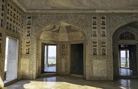 Interior of Muthamman Burj, Shah-Burj or  Musamman Burj in the Agra Red Fort - Agra, Uttar Pradesh, India Editorial