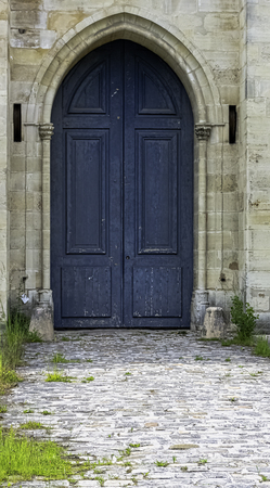 Side entrance to Chateau de Vincennes - massive 14th and 17th century French royal fortress in the town of Vincennes, Val-de-Marne, France