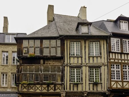 Vintage architecture of Old Town in Dinan, Brittany, France