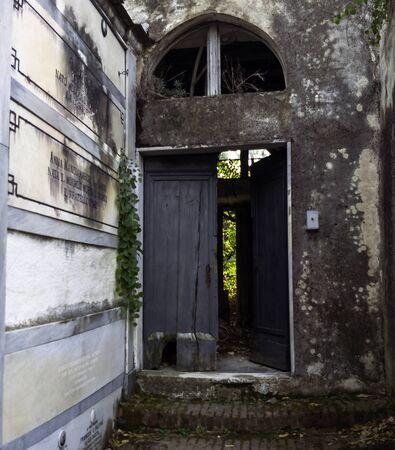 Entrance to old cemetery of Monterosso al Mare, Cinque Terre, Liguria, Italy