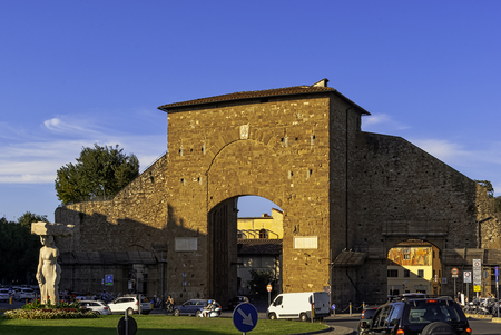 Porta Romana, known as the Porta San Pier Gattolino - gate in the 13th-century walls of the Oltrarno section of Florence, Tuscany, Italy
