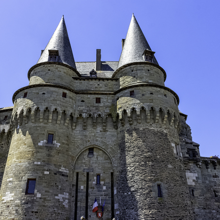 Chateau de Vitre -  medieval castle in the town of Vitré, Brittany, France 新聞圖片