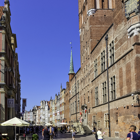 Street of Gdansk Old Town with vintage architecture in Gdansk, Tricity, Pomerania, Poland