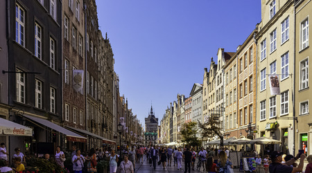 Street of Old Town with vintage architecture and Amber Museum in background - Gdansk, Tricity, Pomerania, Poland