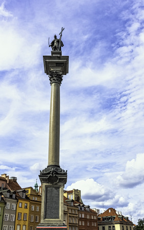 Sigismunds Column in Castle Square with vintage architecture of Old Town in Warsaw, Masovia, Poland