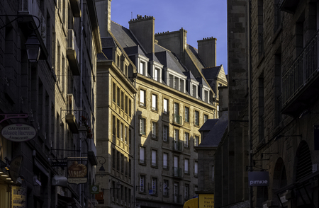 Vintage architecture of Old Town in Saint-Malo, Brittany, France