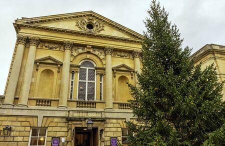Roman Baths and Grand Pump Room (known as Aquae Sulis) with Christmas tree in Bath, Somerset, United Kingdom