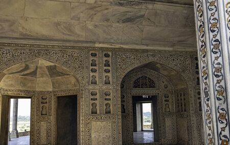 Interior of Muthamman Burj, Shah-Burj or  Musamman Burj in the Agra Red Fort - Agra, Uttar Pradesh, India 版權商用圖片