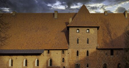 Castle of the Teutonic Order in Malbork - the largest castle in the world by land area in Malbork, Pomerania, Poland 新聞圖片