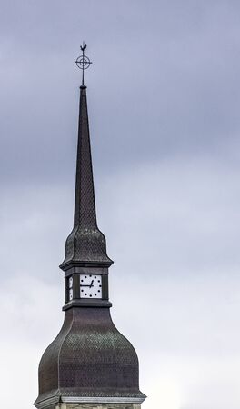 Congregation of Brothers of Christian Instruction (La Mennais Brothers) tower clock in Ploermel, Brittany, France