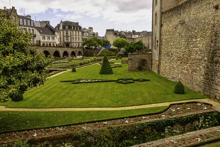 Vannes City Walls and park in Vannes, Brittany, France