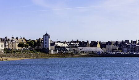 Vintage architecture and beach in Saint-Malo, Brittany, France