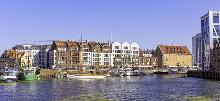View of Motlawa river and architecture of Gdansk, Tricity, Pomerania, Poland