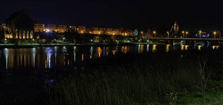 River Nogat and Malbork city by night - panoramic view - Malbork, Pomerania, Poland