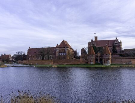 Castle of the Teutonic Order and river Nogat in Malbork, Pomerania, Poland