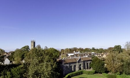 Aerial view of Warwick with Collegiate Church of St Mary in Warwick, Warwickshire, United Kingdom