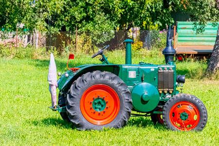 Vintage German tractor Lanz Bulldog in Choczewo, Pomerania, Poland Editorial