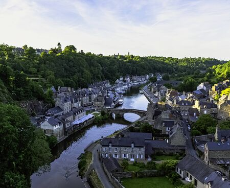 Aerial view of Port of Dinan - Dinan, Brittany, France 版權商用圖片
