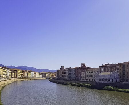 Arno river and vintage architecture of Pisa, Tuscany, Italy