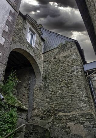 Vintage architecture of Old Town in Ploermel, Brittany, France
