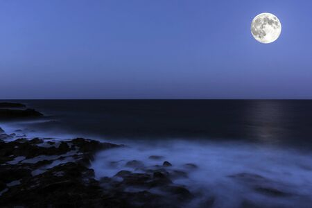 Moon over the ocean - Lanzarote, Canary Islands, Spain