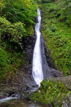 Whitelady waterfall in rain - Lydford, Dartmoor National Park, Devon, United Kingdom