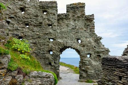 Remains of Tintagel Castle - Tintagel, Cornwall, United Kingdom 免版税图像