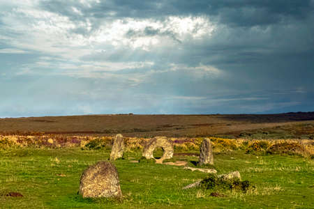 Men-an-Tol known as Men an Toll or Crick Stone - small formation of standing stones in Cornwall