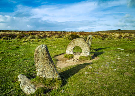 Men-an-Tol known as Men an Toll or Crick Stone - small formation of standing stones in Cornwall, United Kingdom Stock fotó