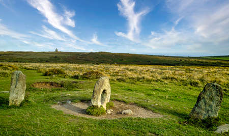Men-an-Tol known as Men an Toll or Crick Stone - small formation of standing stones in Cornwall, United Kingdom
