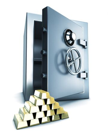 bank vault: Bank safe with gold bars in front
