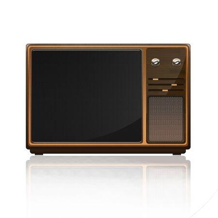 old fashioned tv: Isolated wooden Retro tv-set Stock Photo