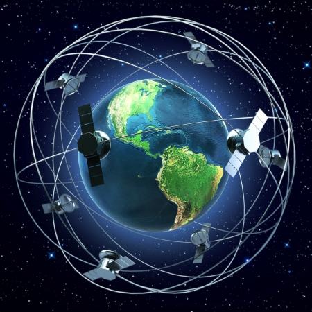 衛星地球の背景の周りを飛んで