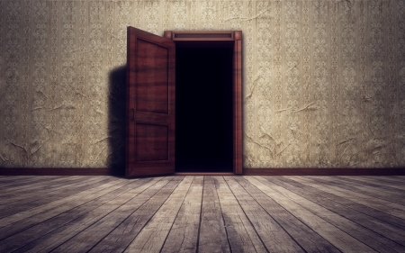 old wooden door: Grunge vintage interior open door background Stock Photo