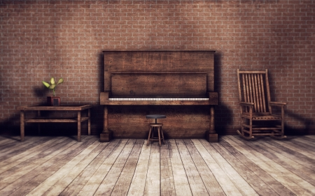 Old piano in an old vintage room Stock Photo