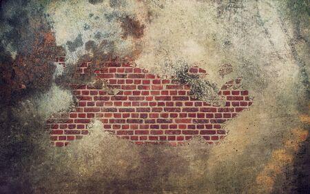 broken brick: old rust damaged concrete wall