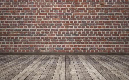 レンガ壁グランジ部屋背景 写真素材