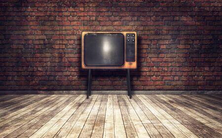 old tv: Old TV in a room grunge background
