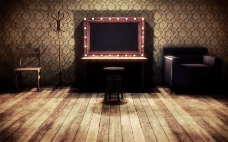 room wallpaper: Vintage dressing room 3d render Stock Photo