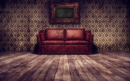 Vintage room background with old sofa photo